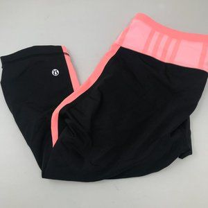 Lululemon Black Pink Peach Capris Crops